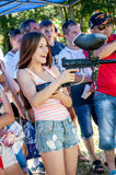 Paintball fun. A cute girl playing paintpall Royalty Free Stock Photo