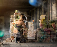 Paintball  game action Royalty Free Stock Photo