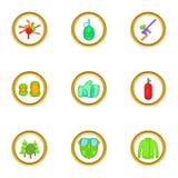 Paintball game icons set, cartoon style Royalty Free Stock Photo