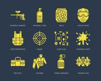 Paintball game line icons. Extreme leisure equipment, paint ball marker, uniform, mask, chest protection. Outdoor sport Royalty Free Stock Images