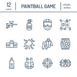 Paintball game line icons. Outdoor sport equipment, paint ball marker, uniform, mask, chest protection. Extreme leisure Royalty Free Stock Image