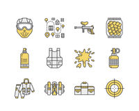 Paintball game line icons. Outdoor sport equipment, paint ball marker, uniform, mask, chest protection. Extreme leisure Royalty Free Stock Photos