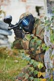 Paintball game player Stock Image