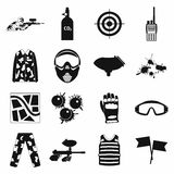 Paintball game simple icons set Royalty Free Stock Images
