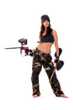 Paintball girl. Sexy young girl posing like playing paintball Stock Images