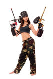 Paintball girl. Sexy young girl posing like playing paintball Royalty Free Stock Images
