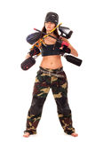 Paintball girl. Sexy young girl posing like playing paintball Royalty Free Stock Photography