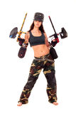 Paintball girl. Sexy young girl posing like playing paintball Royalty Free Stock Photos