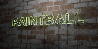 PAINTBALL - Glowing Neon Sign on stonework wall - 3D rendered royalty free stock illustration Stock Photo