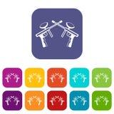 Paintball guns icons set Stock Photo