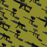 Paintball guns  seamless pattern Royalty Free Stock Photos