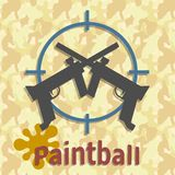 Paintball guns and splash poster. Paintball splash target and guns template of the poster style grunge vector illustration royalty free illustration
