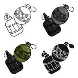 Paintball hand grenade icon in cartoon style isolated on white background. Paintball symbol stock vector illustration. vector illustration