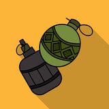 Paintball hand grenade icon in outline style isolated on white background. Paintball symbol stock vector illustration. royalty free illustration