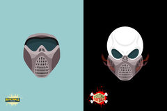 Paintball helmet and mask. scary skull with smoke. Stock Image