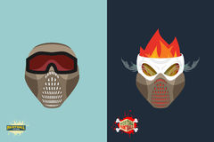 Paintball helmet and mask. scary skull with smoke. Mortal paintb Royalty Free Stock Image