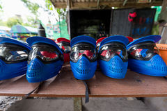 Paintball helmet for player Stock Images