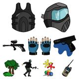 Paintball icon in set collection. A collection of pictures about the game in paintball. The balloons with paint.Paintball icon in set collection on cartoon Stock Photos