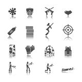 Paintball icon set. Paintball outdoor game black stickers icons collection isolated vector illustration Stock Image