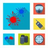 Paintball, iconos planos del juego de equipo en la colección del sistema para el diseño El equipo y el equipo vector el ejemplo c Fotografía de archivo libre de regalías