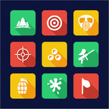 Paintball Icons Flat Design Royalty Free Stock Photography