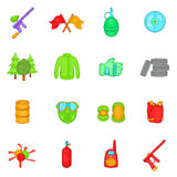 Paintball icons set, cartoon style Stock Photos