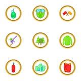 Paintball icons set, cartoon style Royalty Free Stock Photo