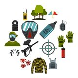 Paintball icons set, flat style. Paintball icons set. Flat illustration of 16 paintball icons for web royalty free illustration