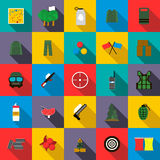 Paintball icons set, flat style Royalty Free Stock Photos