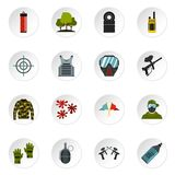 Paintball icons set, flat style. Paintball icons set. Flat illustration of 16 paintball vector icons set illustration Royalty Free Illustration