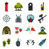 Paintball icons set, flat style. Paintball icons set. Flat illustration of 16 paintball vector icons for web Stock Illustration