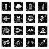Paintball icons set, grunge style Stock Photography