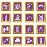 Paintball icons set purple. Paintball icons set in purple color isolated vector illustration for web and any design Stock Photo