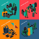 Paintball Isometric Compositions. With equipment and team of players capture flag and game tactics  vector illustration Stock Photos