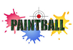 Paintball Logo. In camouflage style with paint smears and target Royalty Free Stock Photos