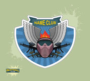 Paintball logo emblem. paintball guns and Wings. Mortal Heraldry Royalty Free Stock Images