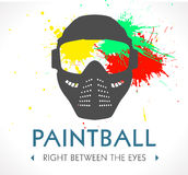 Paintball logo. Mask and splash bullets concept Royalty Free Stock Image