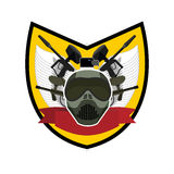 Paintball logo. Military emblem. Army sign. Helmet and weapons. Royalty Free Stock Photos