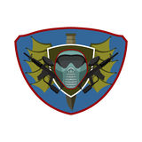 Paintball logo. Military emblem. Army sign. Helmet and weapons. Stock Photography
