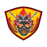 Paintball logo. Military emblem. Army sign. Helmet and weapons. Royalty Free Stock Photography