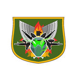 Paintball logo. Military emblem. Army sign. Helmet and weapons. Royalty Free Stock Image