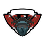 Paintball logo. Military emblem. Army sign. Helmet and weapons. Stock Photos