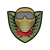 Paintball logo. Military emblem. Army sign. Helmet and weapons. Stock Image