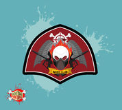 Paintball logo. skul protection mask. Heraldic Shield with wings Royalty Free Stock Photo