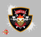 Paintball logo. skul protection mask. Heraldic Shield with wings Royalty Free Stock Images