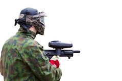 Paintball man on white Stock Photos
