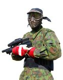 Paintball man on white Stock Image