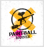 Paintball Marker Gun Vector Splat Banner on Grunge Background.  royalty free illustration