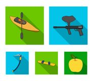 Paintball marker, kayak with a paddle, snowboard and climbing ice ax.Extreme sport set collection icons in flat style. Vector symbol stock illustration Royalty Free Stock Photography