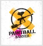 Paintball-Markierungs-Gewehr-Vektor Splat-Fahne auf Schmutz-Hintergrund Stockfotografie